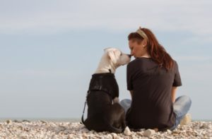 Woman touching white dog wearing brown jacket nose on beach