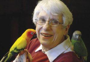 Senior Lady Assisted Living Birds on shoulder