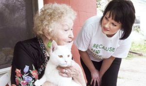 Senior Lady Assited Living with Cat